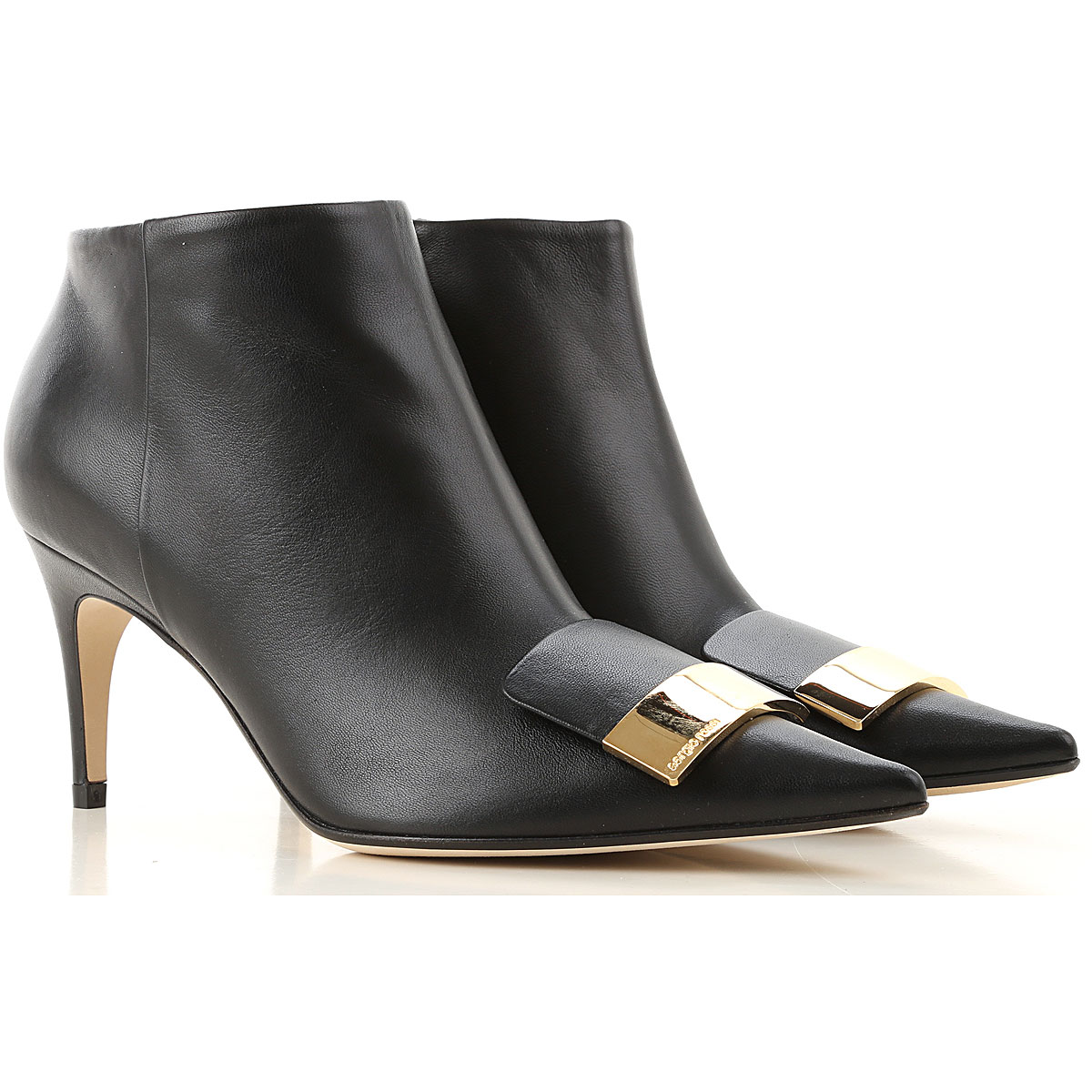 Sergio Rossi Boots for Women, Booties On Sale, Black, Leather, 2019, 10 7 8 9