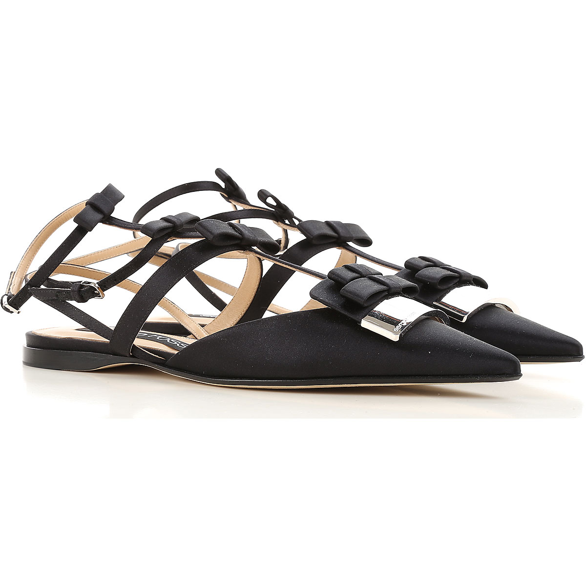 Image of Sergio Rossi Ballet Flats Ballerina Shoes for Women On Sale, Black, satin, 2017, 6.5 8.5