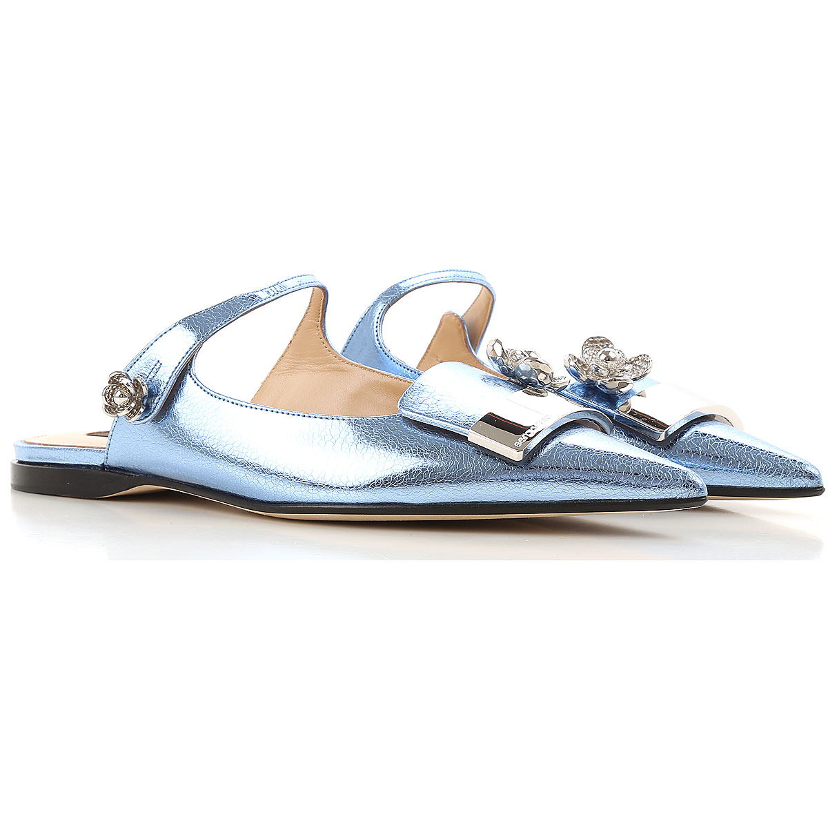Image of Sergio Rossi Ballet Flats Ballerina Shoes for Women On Sale, Laguna Blue, Patent Leather, 2017, 7 8.5
