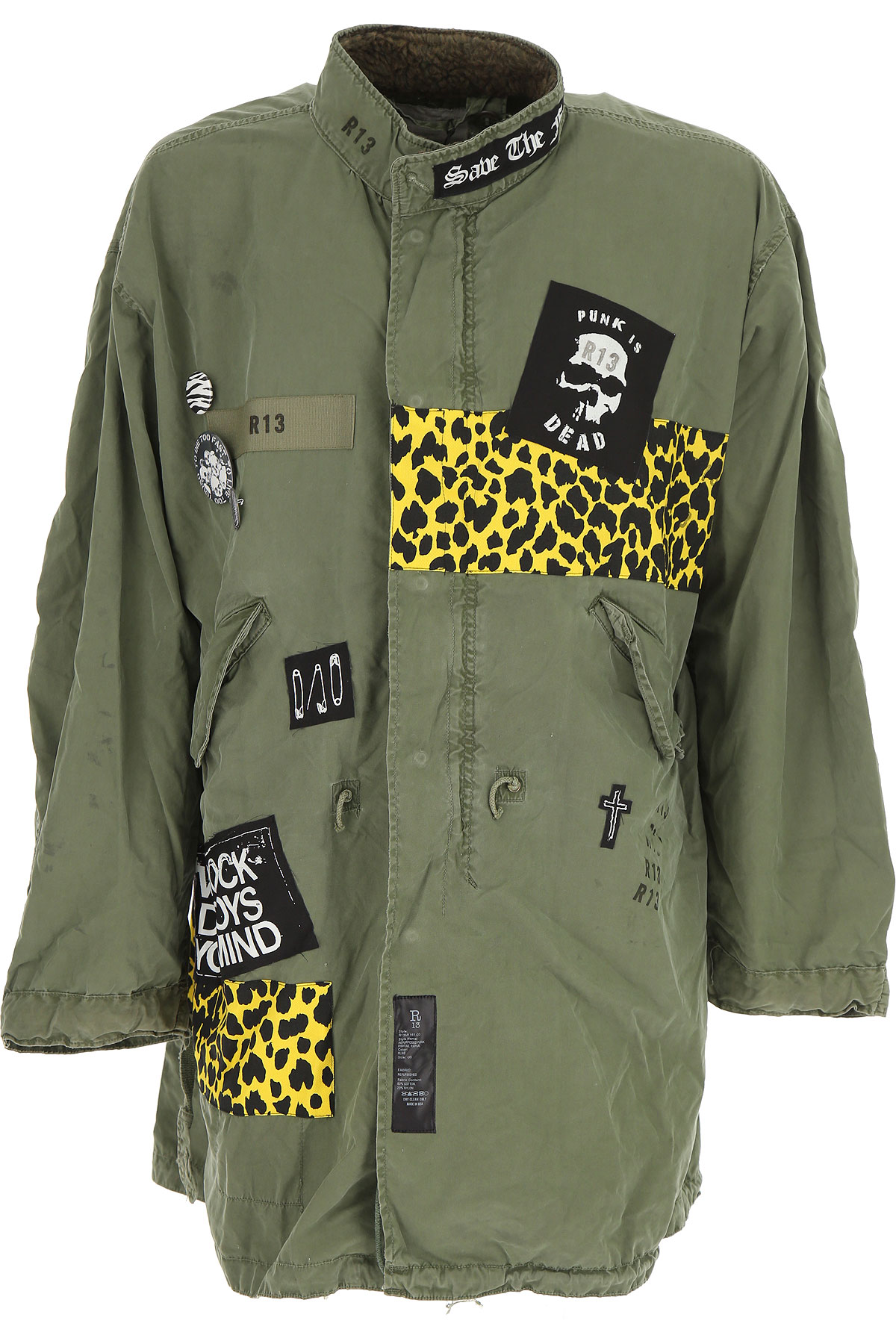 Image of R13 Jacket for Men, Olive, Cotton, 2017