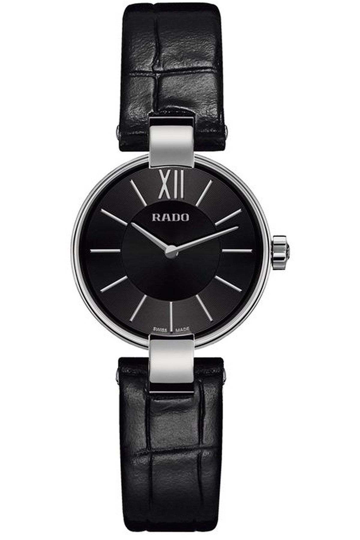 Rado Watch for Women, Black, Alligator Leather, 2019
