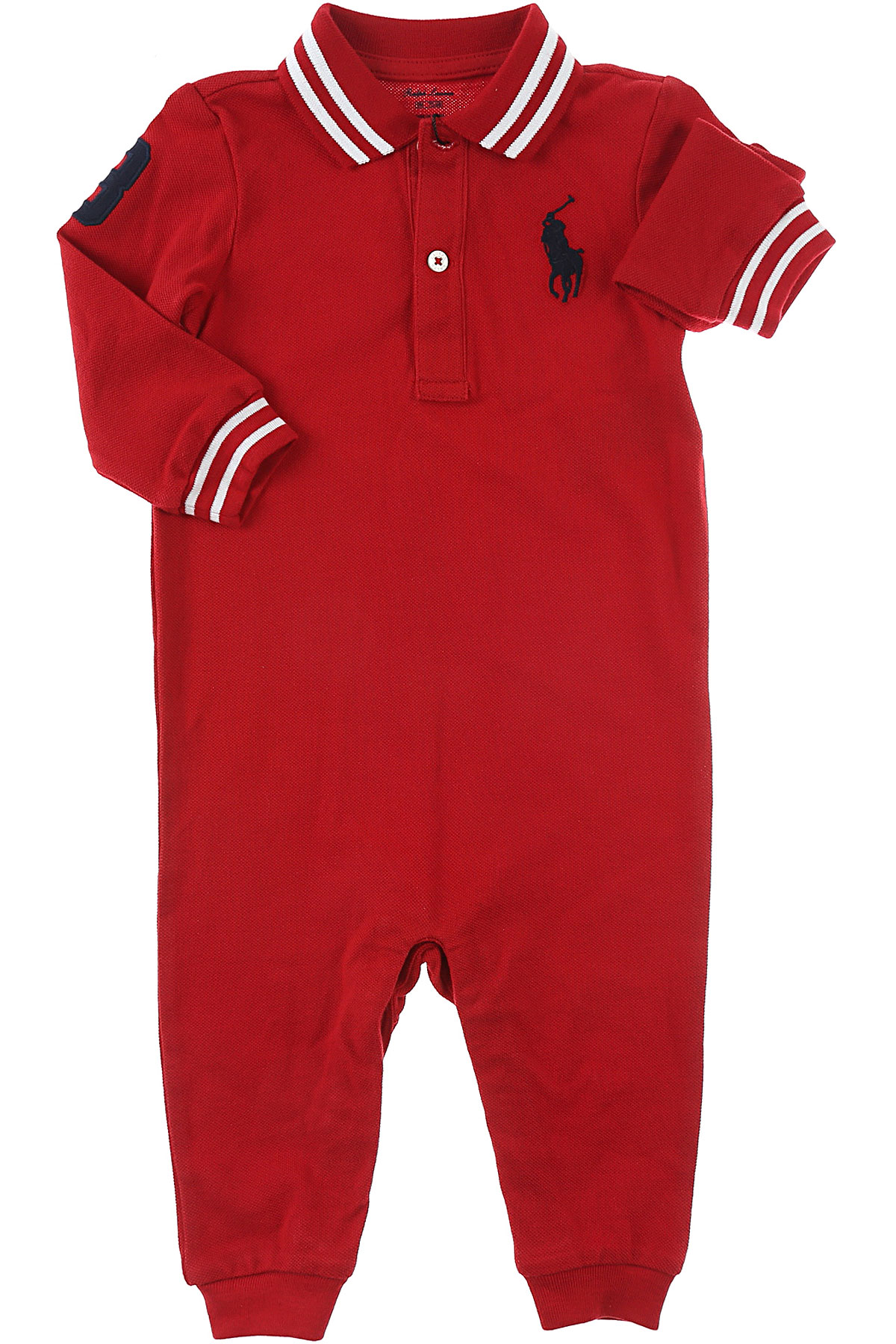 Image of Ralph Lauren Baby Bodysuits & Onesies for Boys, Red, Cotton, 2017, 3M 9M
