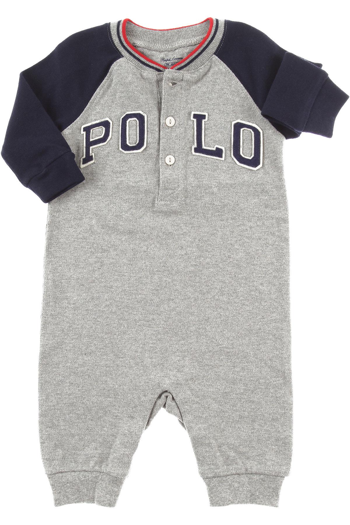 Image of Ralph Lauren Baby Bodysuits & Onesies for Boys, Grey, Cotton, 2017, 3M 6M 9M