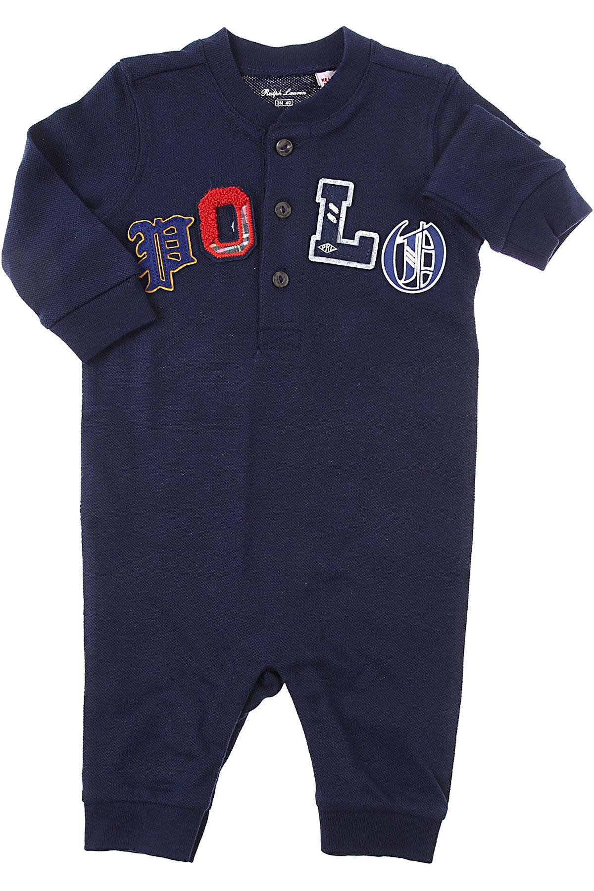 Ralph Lauren Baby Bodysuits & Onesies for Boys On Sale, Blue, Cotton, 2019, 3M 6M 9M