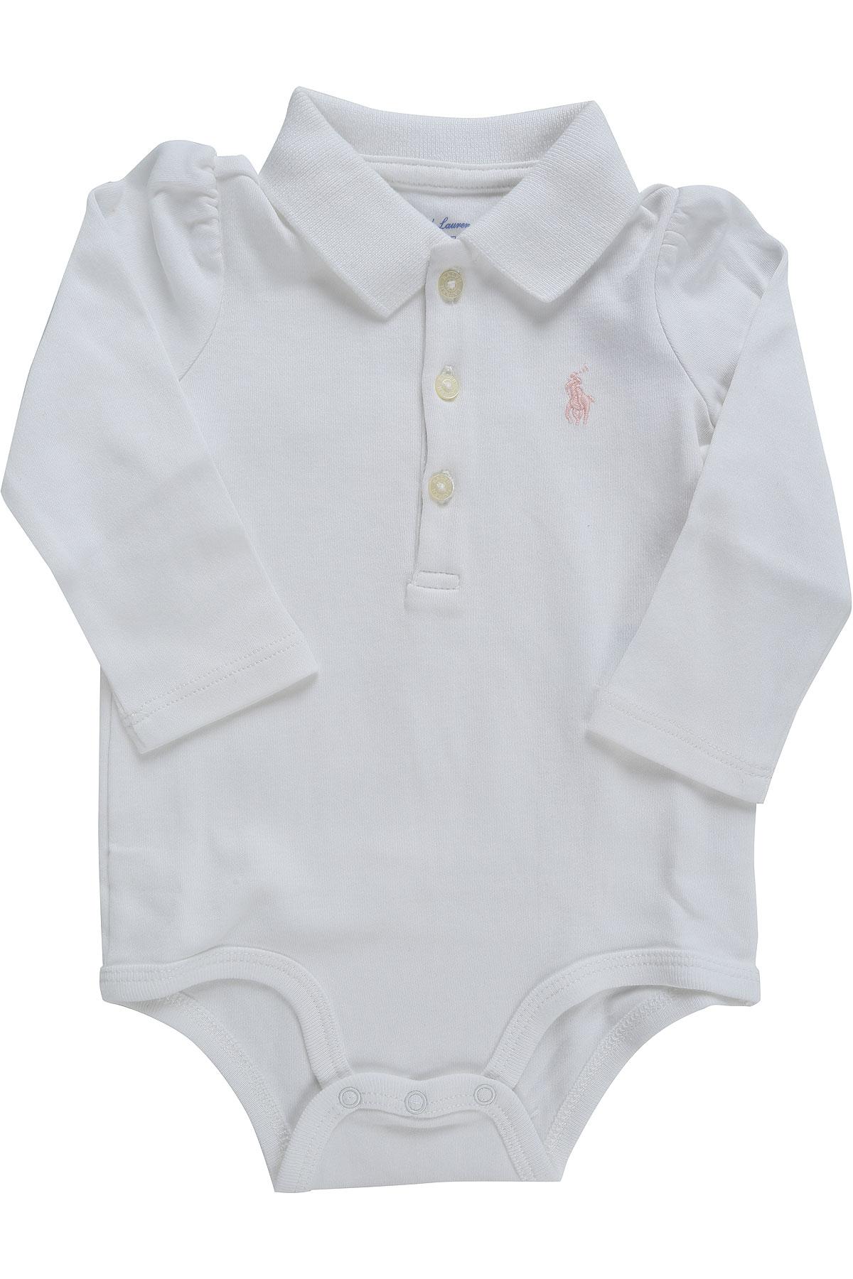 Image of Ralph Lauren Baby Bodysuits & Onesies for Girls, White, Cotton, 2017, 3M 6M 9M