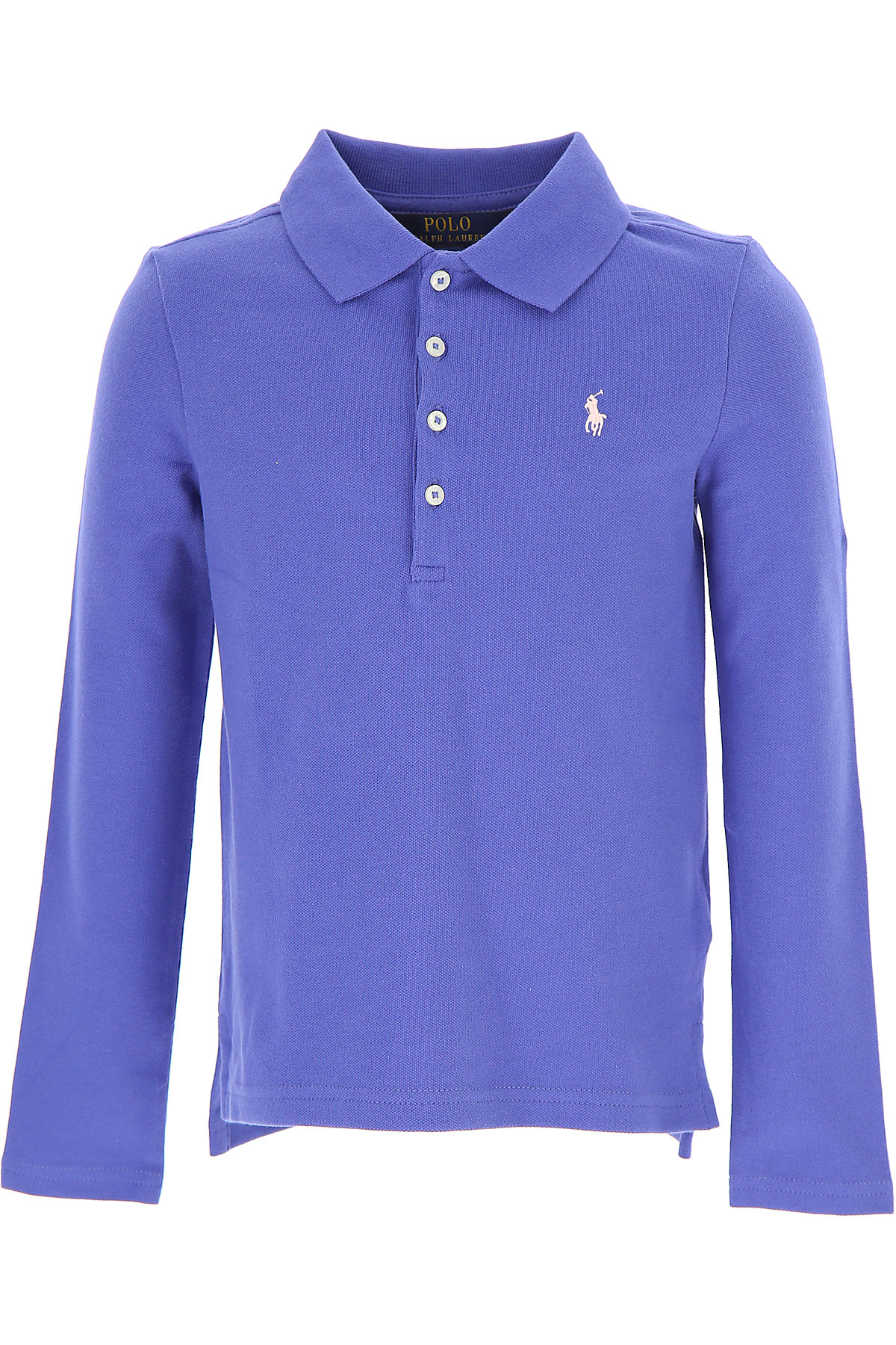 Image of Ralph Lauren Kids Polo Shirt for Girls On Sale in Outlet, Blue Melange, Cotton, 2017, 2Y 3Y 5Y 6Y