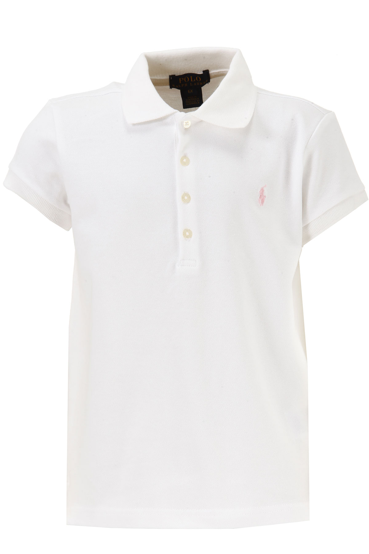 Image of Ralph Lauren Kids Polo Shirt for Girls On Sale in Outlet, White, Cotton, 2017, 2Y 6Y