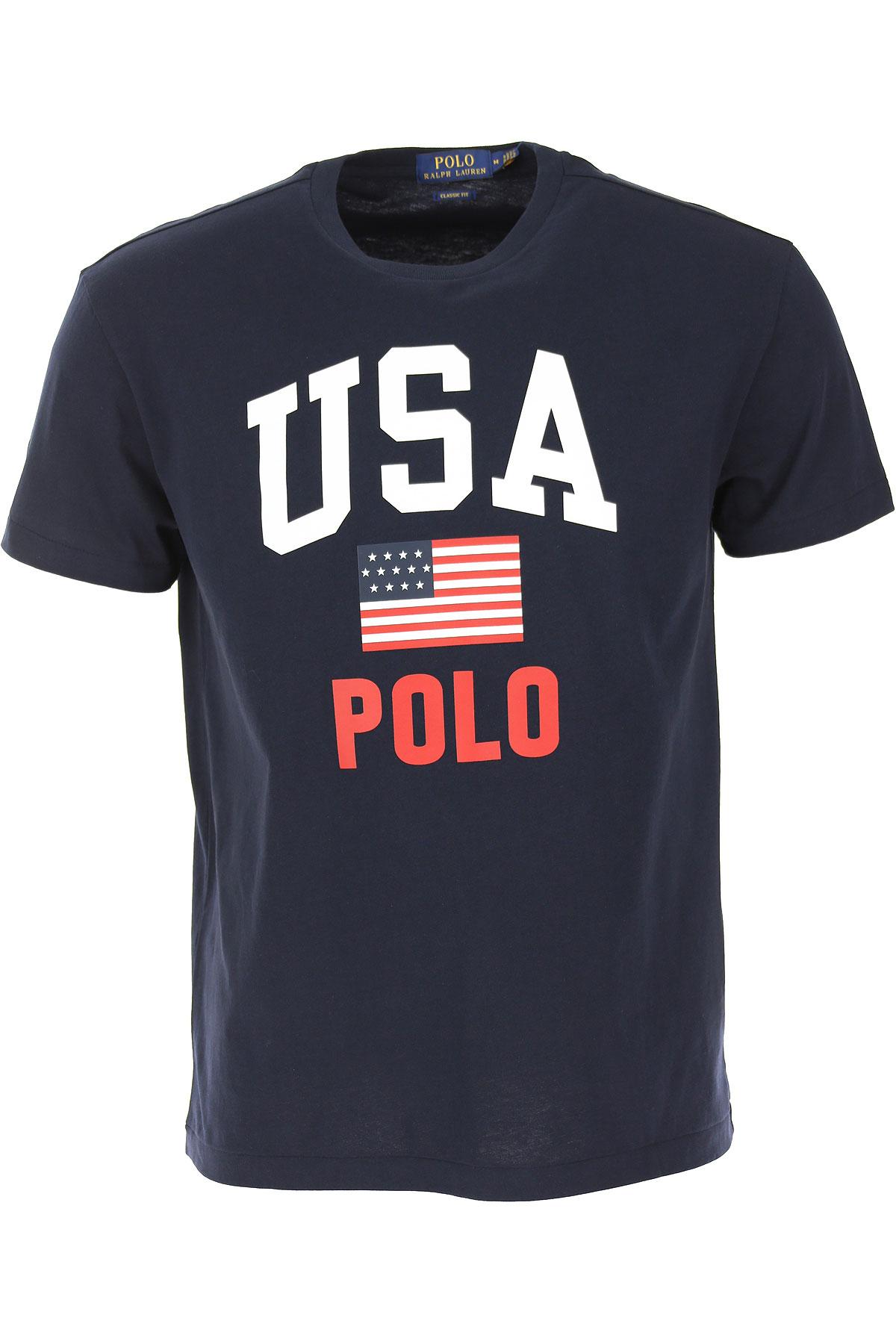 Ralph Lauren T-shirt Homme Pas Cher En Soldes, Bleu Marine Aviateur, Coton, 2019, L M S XL XXL