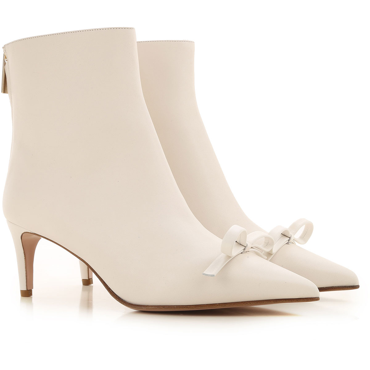 RED Valentino Boots for Women, Booties On Sale, Milk, Leather, 2019, 6 7 8 8.5 9