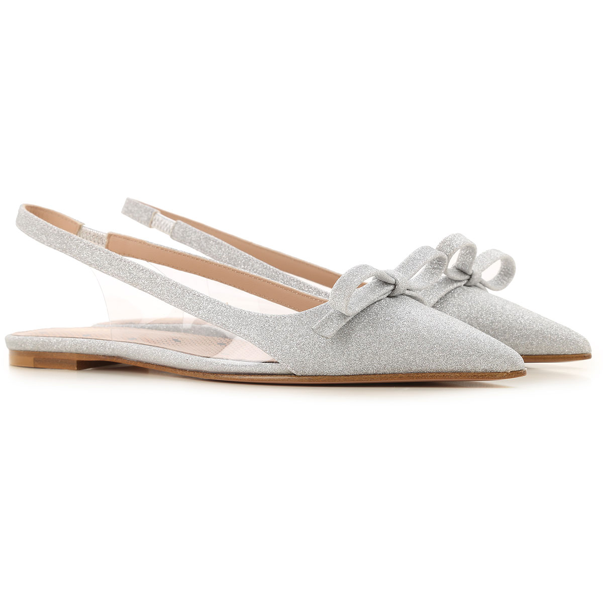 RED Valentino Ballet Flats Ballerina Shoes for Women On Sale, Silver, Glittered Leather, 2019, 10 11 7 8 8.5 9