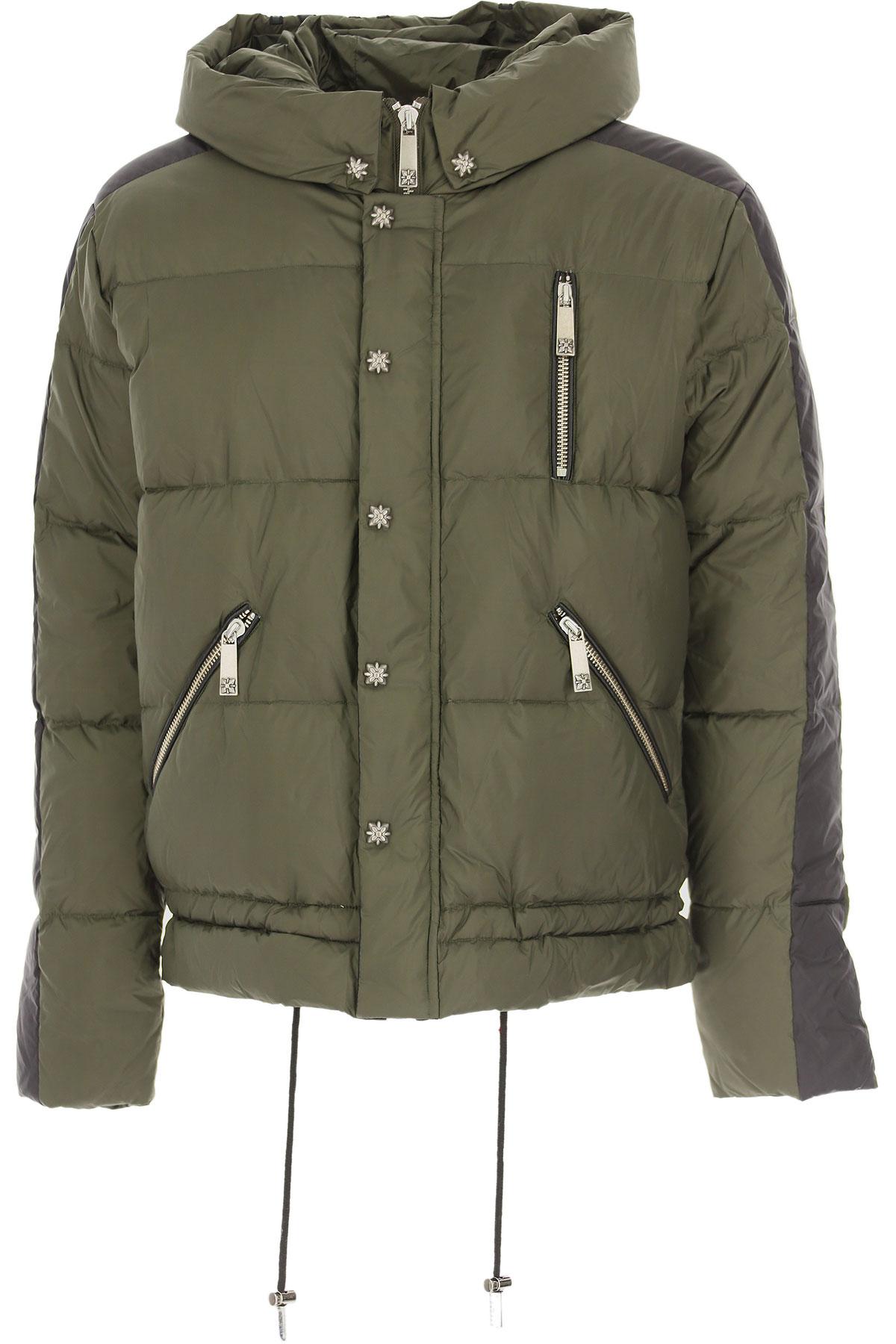 John Richmond Down Jacket for Men, Puffer Ski Jacket On Sale, Military Green, Down, 2019, L M S XL