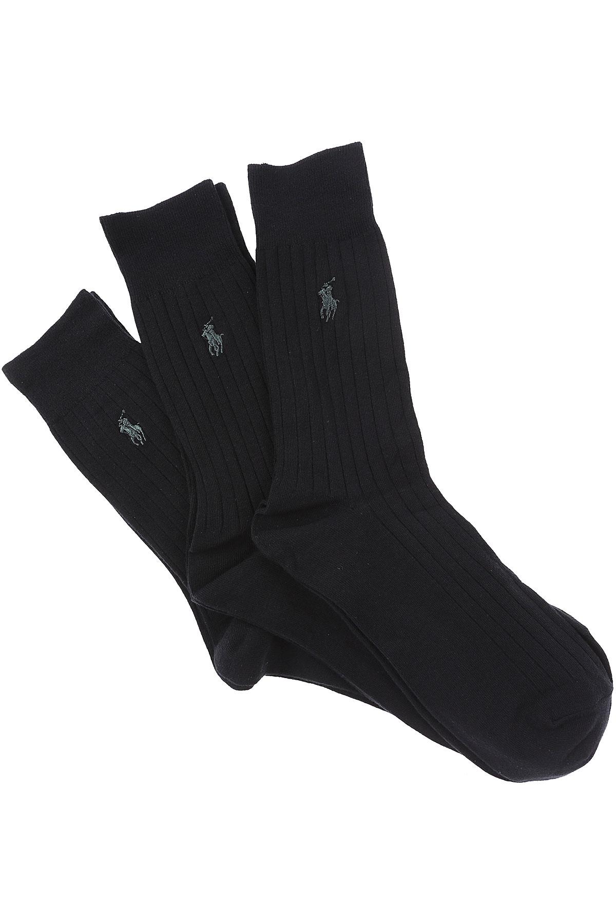 Ralph Lauren Socks Socks for Men On Sale, 3 Pack, Black, Cotton, 2019, M (39 - 42) L (43 - 46)