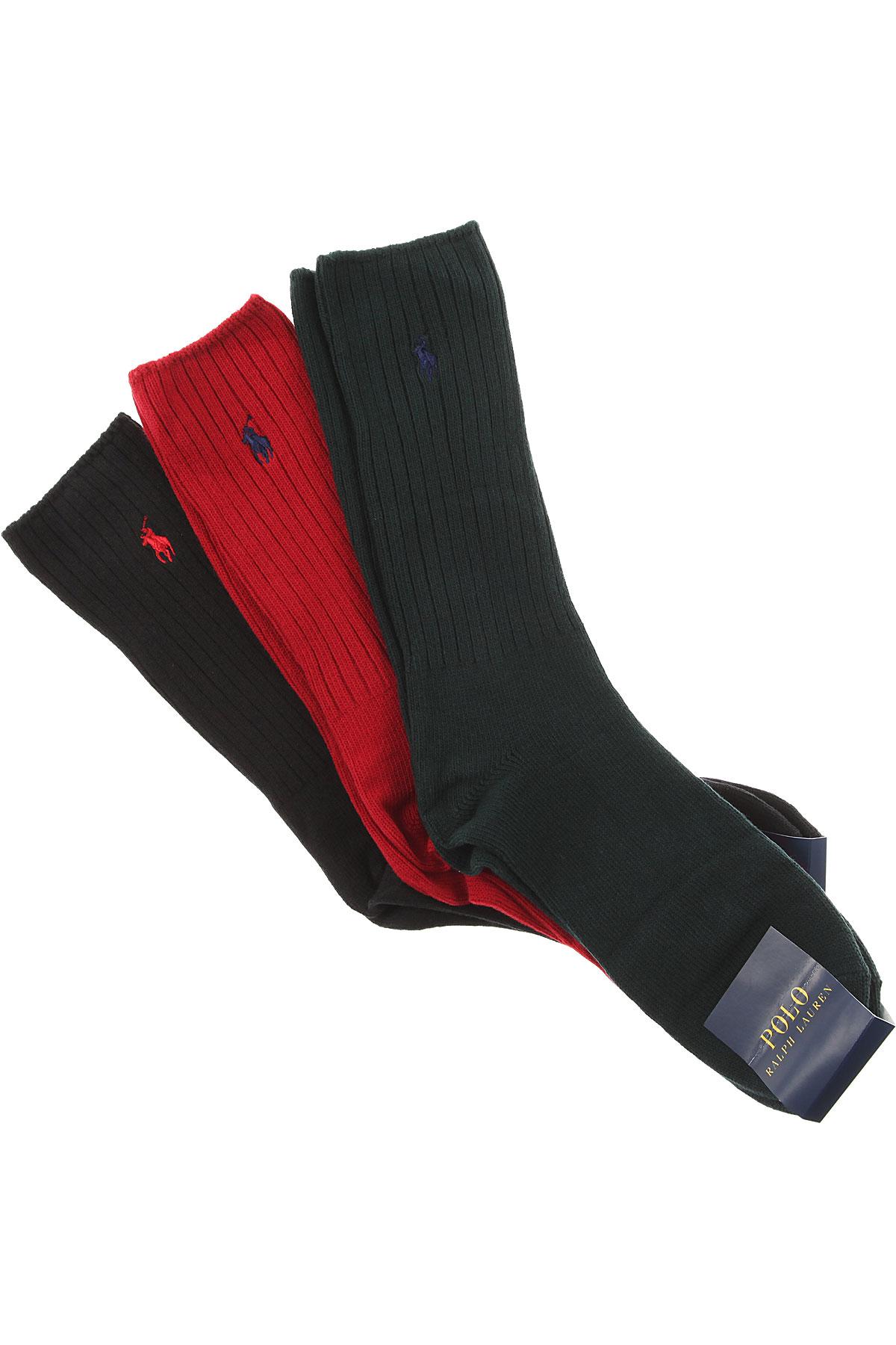 Ralph Lauren Socks Mens Underwear, 3 Pack, Red, Cotton, 2019