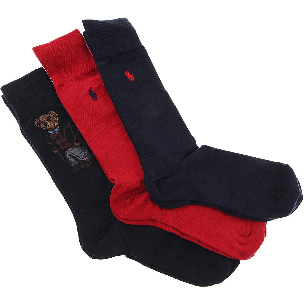 Image of Ralph Lauren Socks Socks for Men, 3 Pack, Red, Cotton, 2017