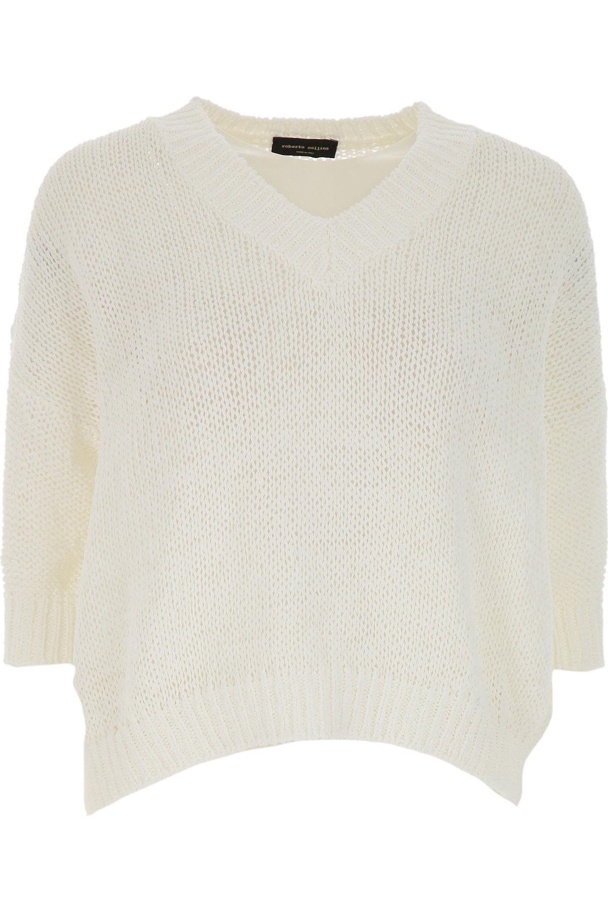 Roberto Collina Sweater for Women Jumper On Sale, White, Cotton, 2019, 4 M