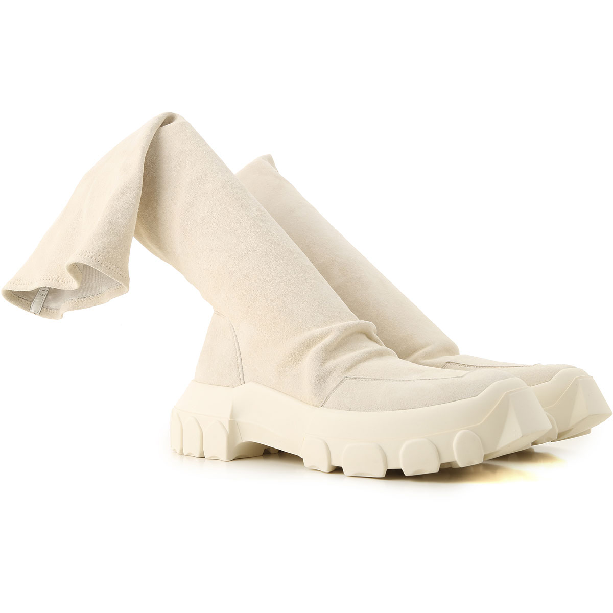 Rick Owens Boots for Men, Booties On Sale in Outlet, Milk, Suede leather, 2019, 7.5 9