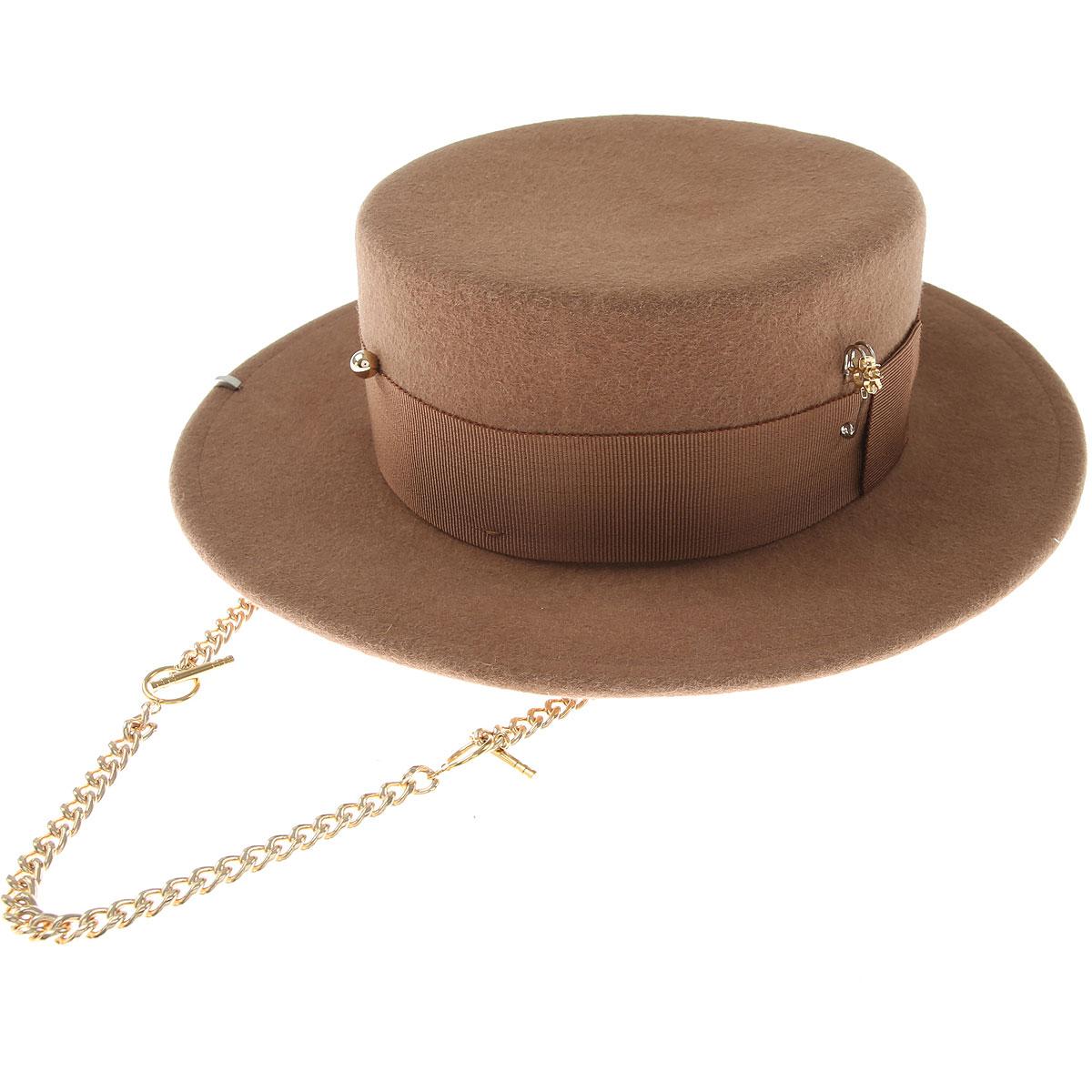 Ruslan Baginskiy Hat for Women On Sale, Camel, Felt, 2019, Small X-Small