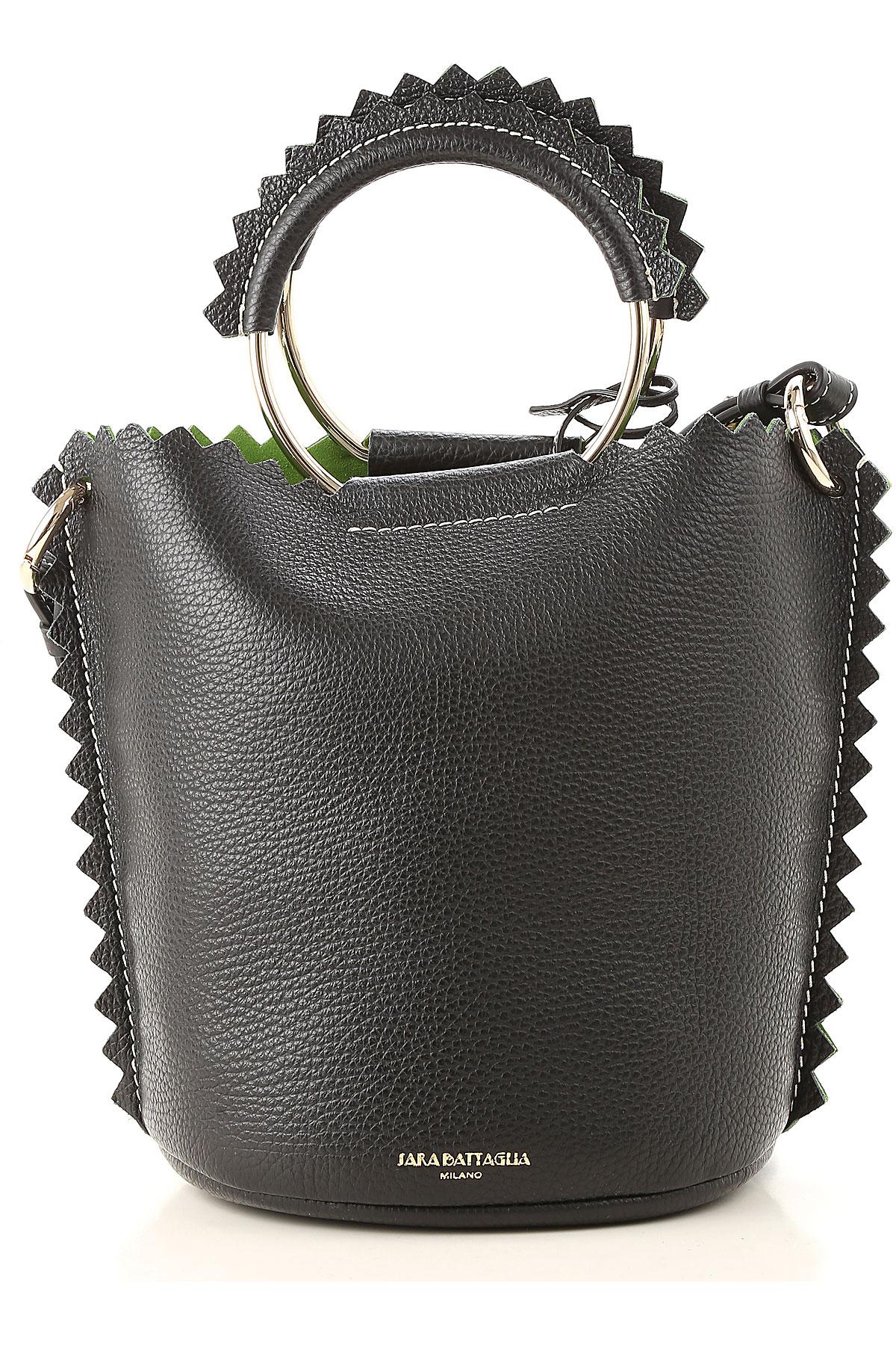 Image of Sara Battaglia Shoulder Bag for Women, Black, Leather, 2017