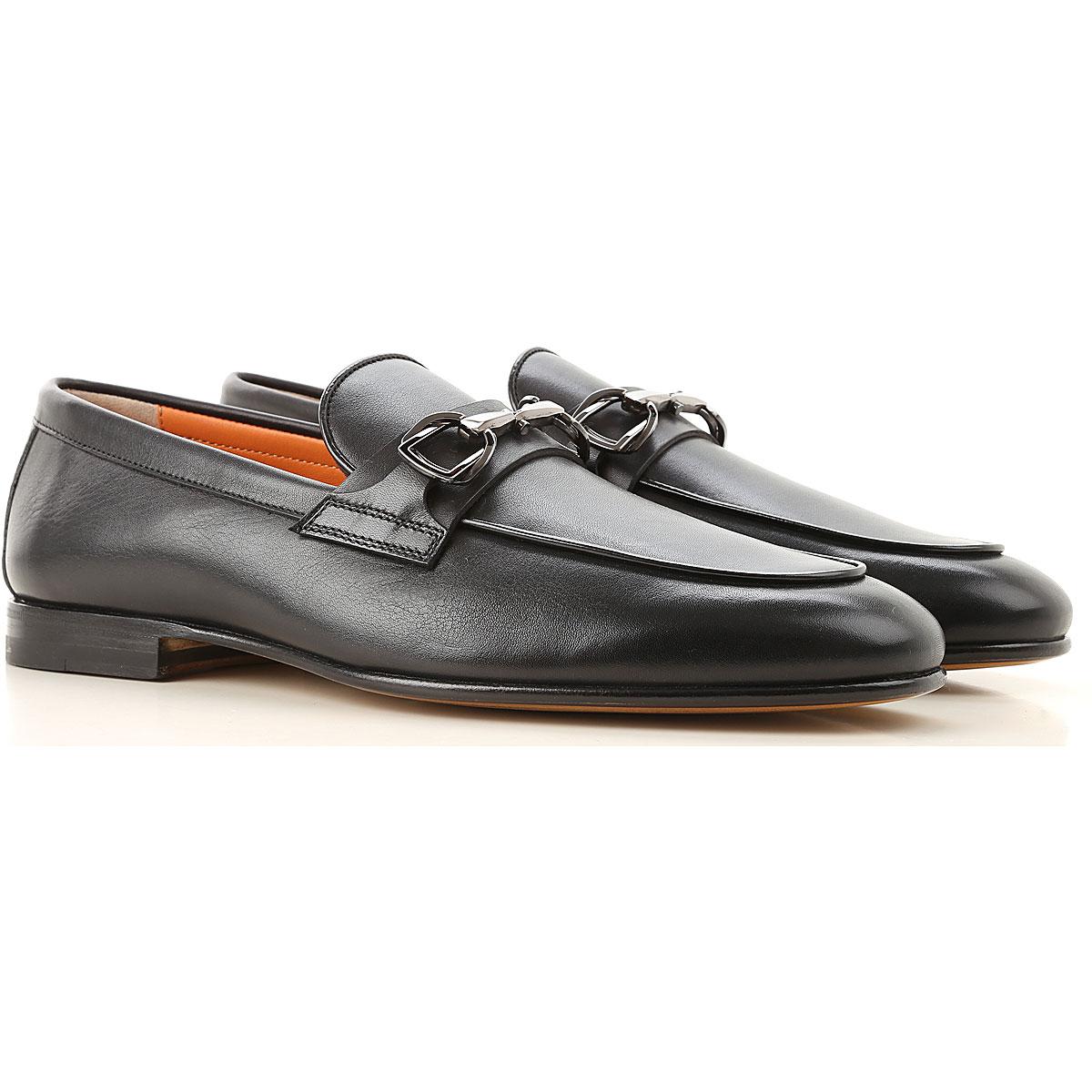 Santoni Loafers for Men On Sale, Black, Leather, 2019, 10.5 7.5 8 8.5 9.5