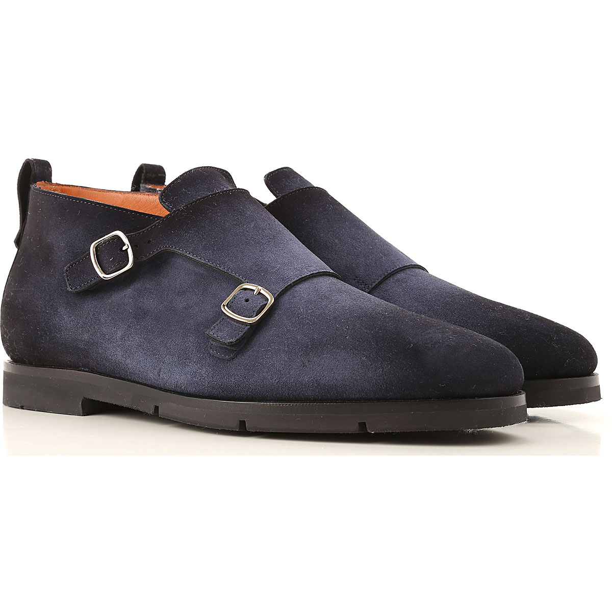 Santoni Monk Strap Shoes for Men On Sale, Midnight Blue, Suede leather, 2019, 10 11 11.5 7 8.5 9.5