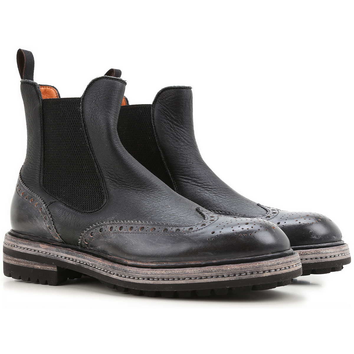 Image of Santoni Boots for Men, Booties On Sale in Outlet, Black, Leather, 2017, 10 9 9.5