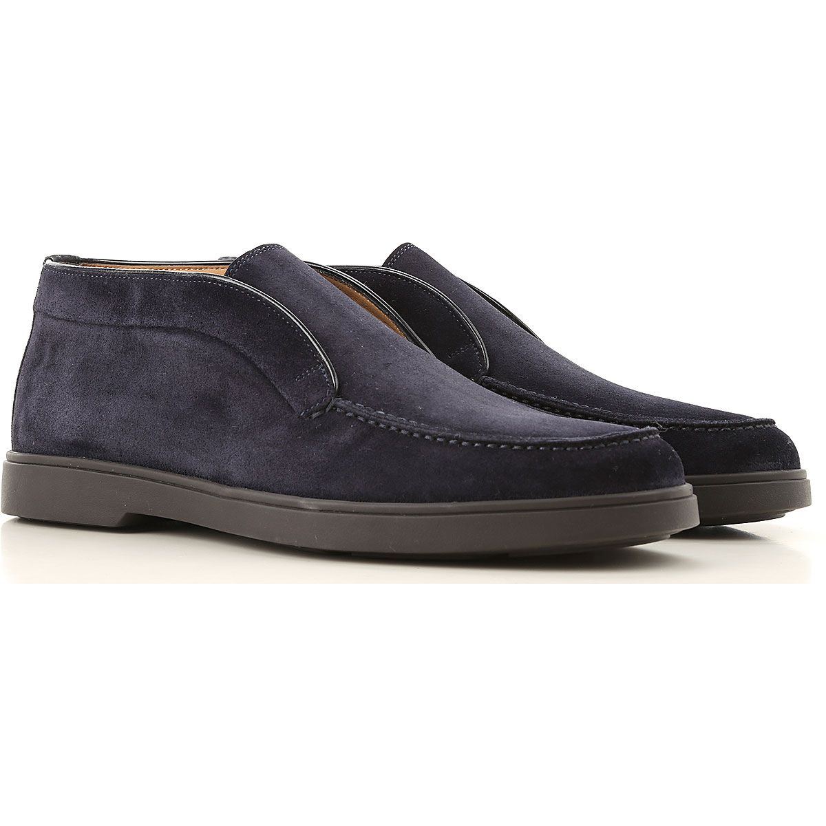 Santoni Slip on Sneakers for Men, Midnight Blue, Suede leather, 2019, 10.5 11