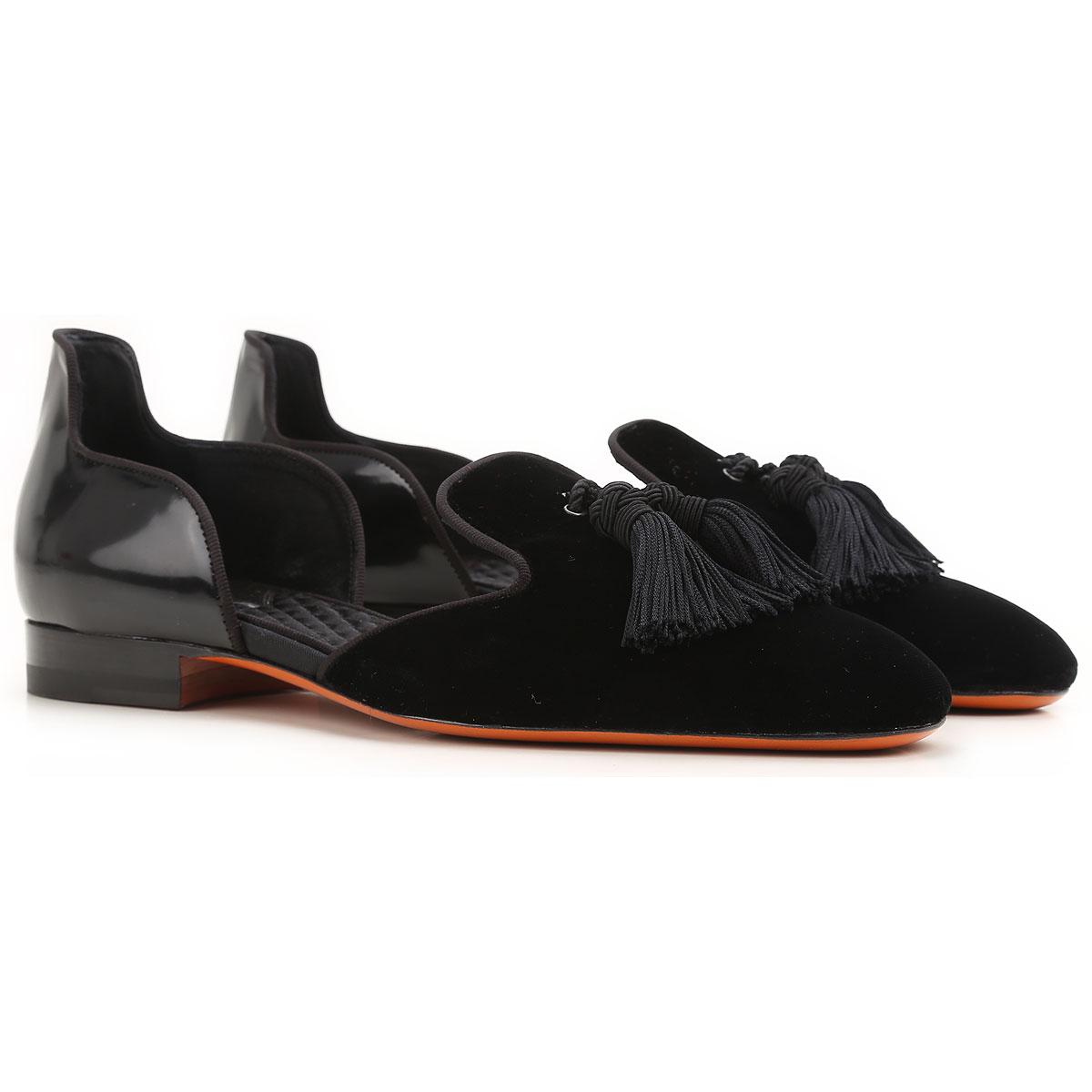 Image of Santoni Ballet Flats Ballerina Shoes for Women On Sale in Outlet, Black, Velvet, 2017, 10 7 8