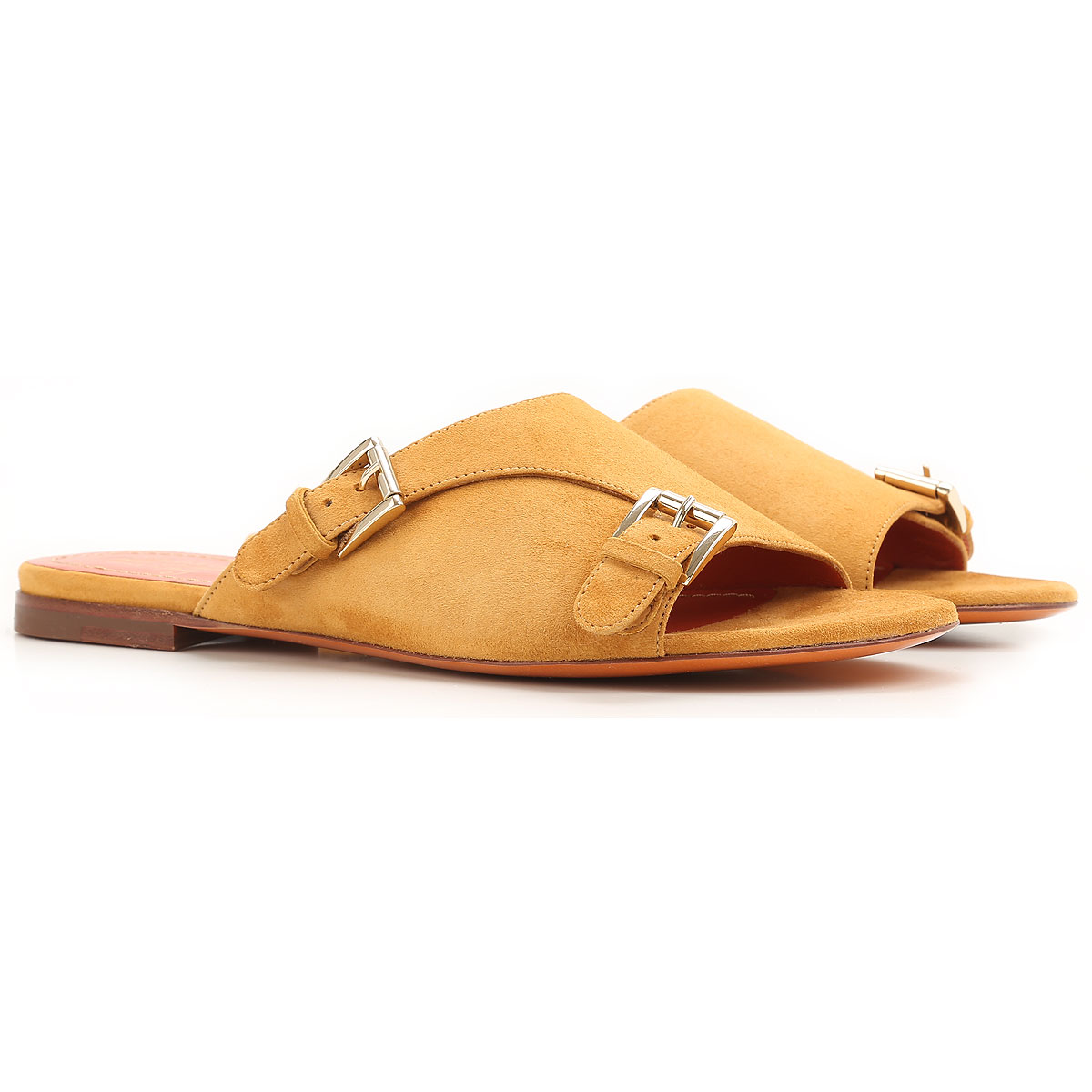 Santoni Sandals for Women On Sale in Outlet, Mustard, Suede leather, 2019, 8.5 9