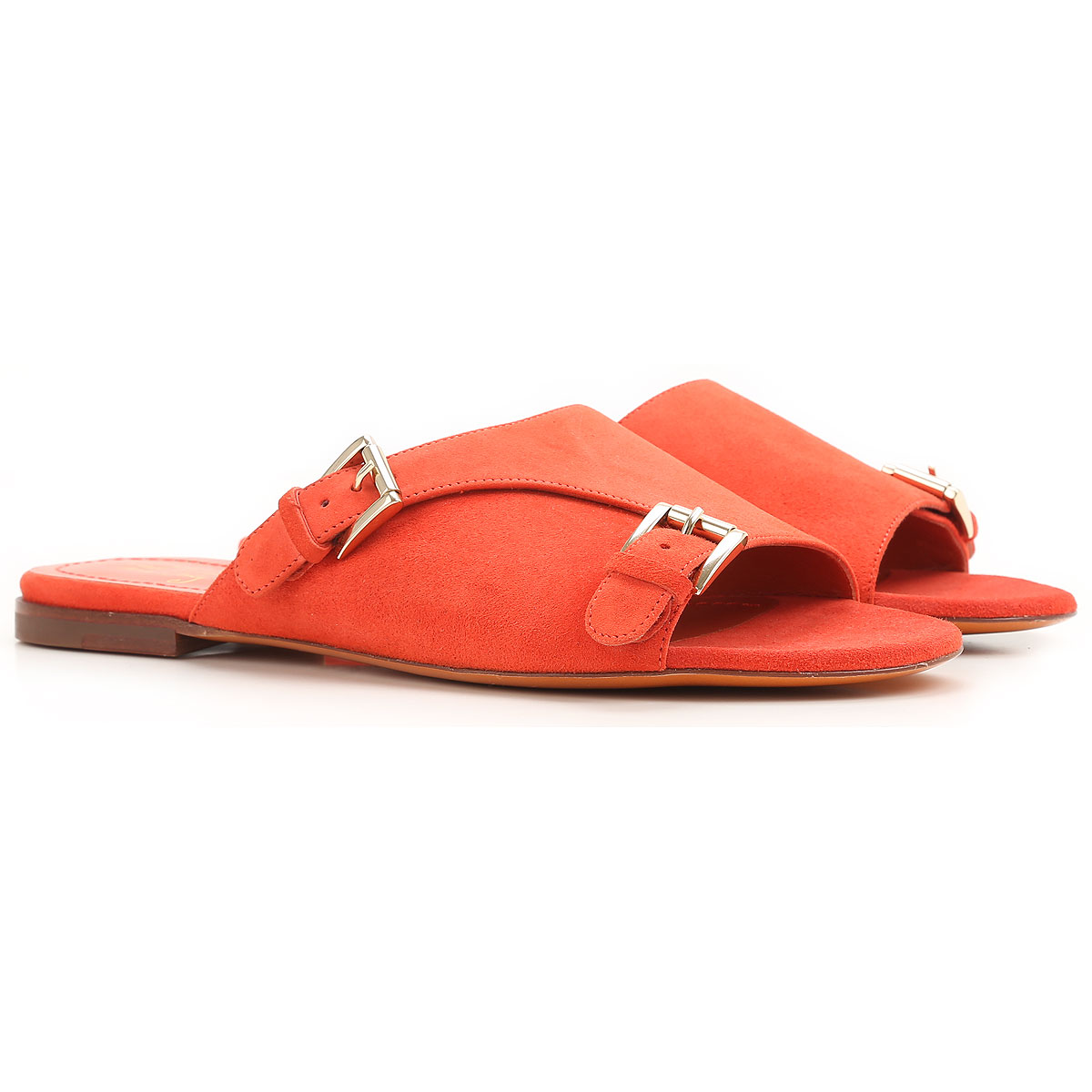 Santoni Sandals for Women On Sale in Outlet, Rose Collection, Coral, Suede leather, 2019, 6.5 8.5