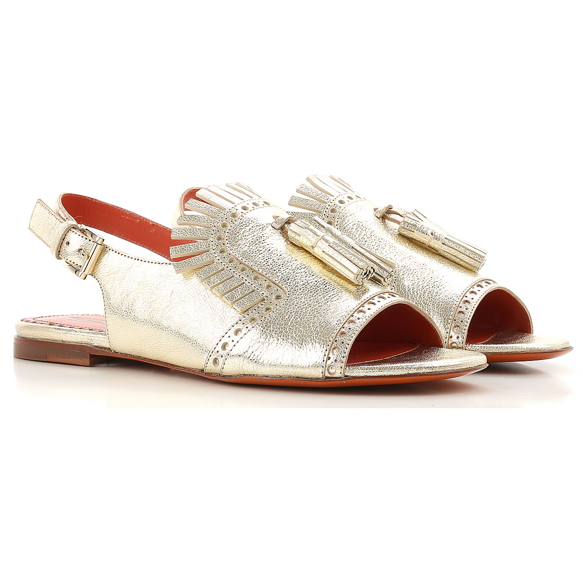 Santoni Sandals for Women On Sale in Outlet, Gold, Leather, 2019, 6