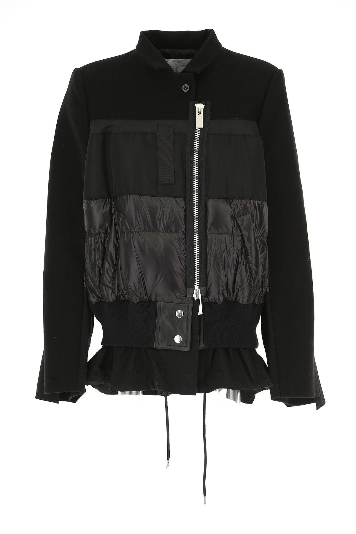 Image of Sacai Down Jacket for Women, Puffer Ski Jacket, Black, Nylon, 2017, US 2 - UK 6 - EU 36 - IT 40 US 4 - UK 8 - EU 38 - IT 42