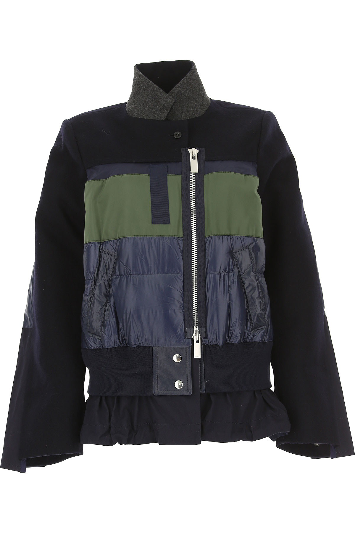 Image of Sacai Jacket for Women, navy, Wool, 2017, US 0 - UK 4 - EU 34 - IT 38 US 2 - UK 6 - EU 36 - IT 40 US 4 - UK 8 - EU 38 - IT 42 US 6 - UK 10 - EU 40 - IT 44 US 8 - UK 12 - EU 42 - IT 46