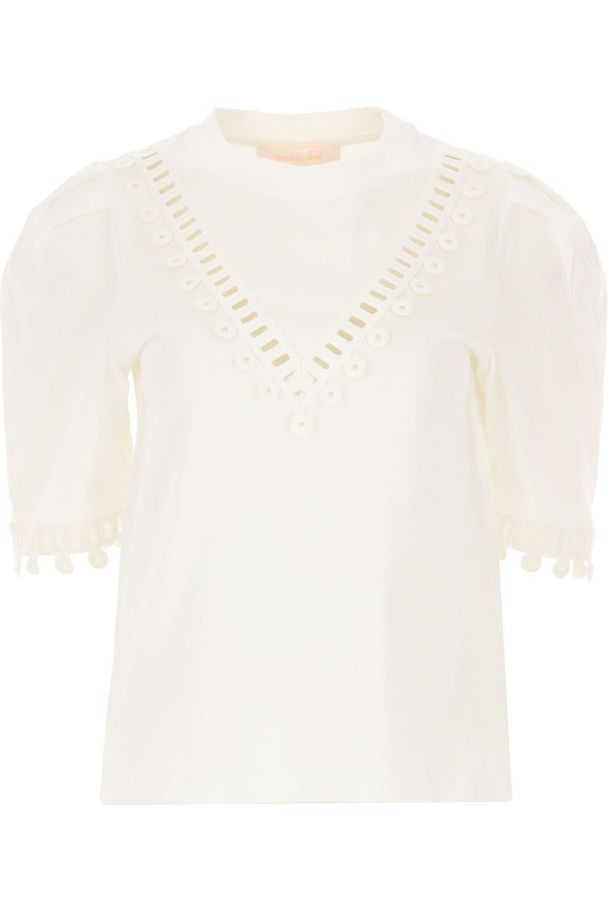 See By Chloe T-Shirt for Women On Sale, White, Cotton, 2019, 4 6