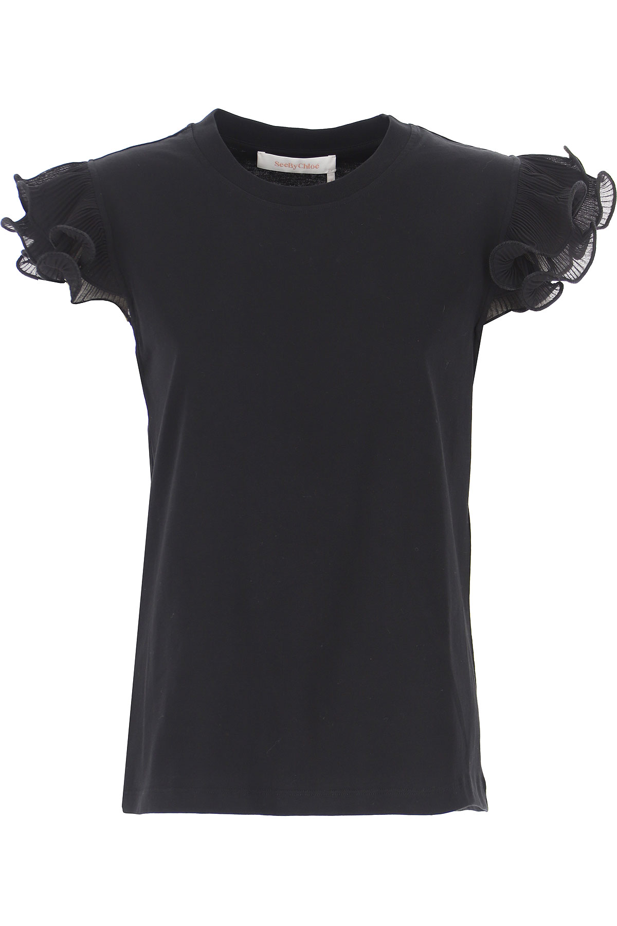 See By Chloe T-Shirt for Women, Black, Cotton, 2019, 4 6 8