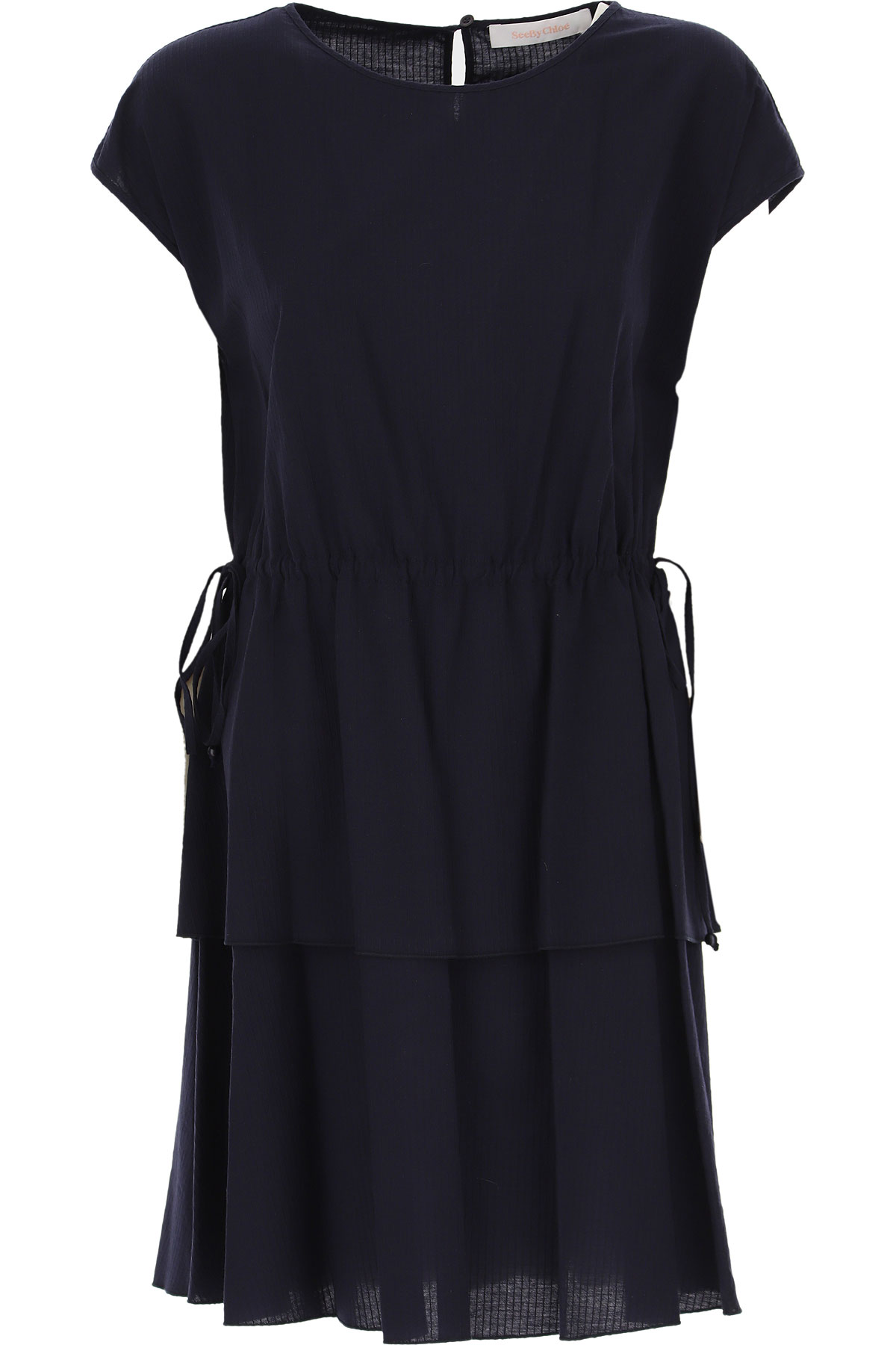 See By Chloe Dress for Women, Evening Cocktail Party, Ink Navy, Cotton, 2019, 2 4