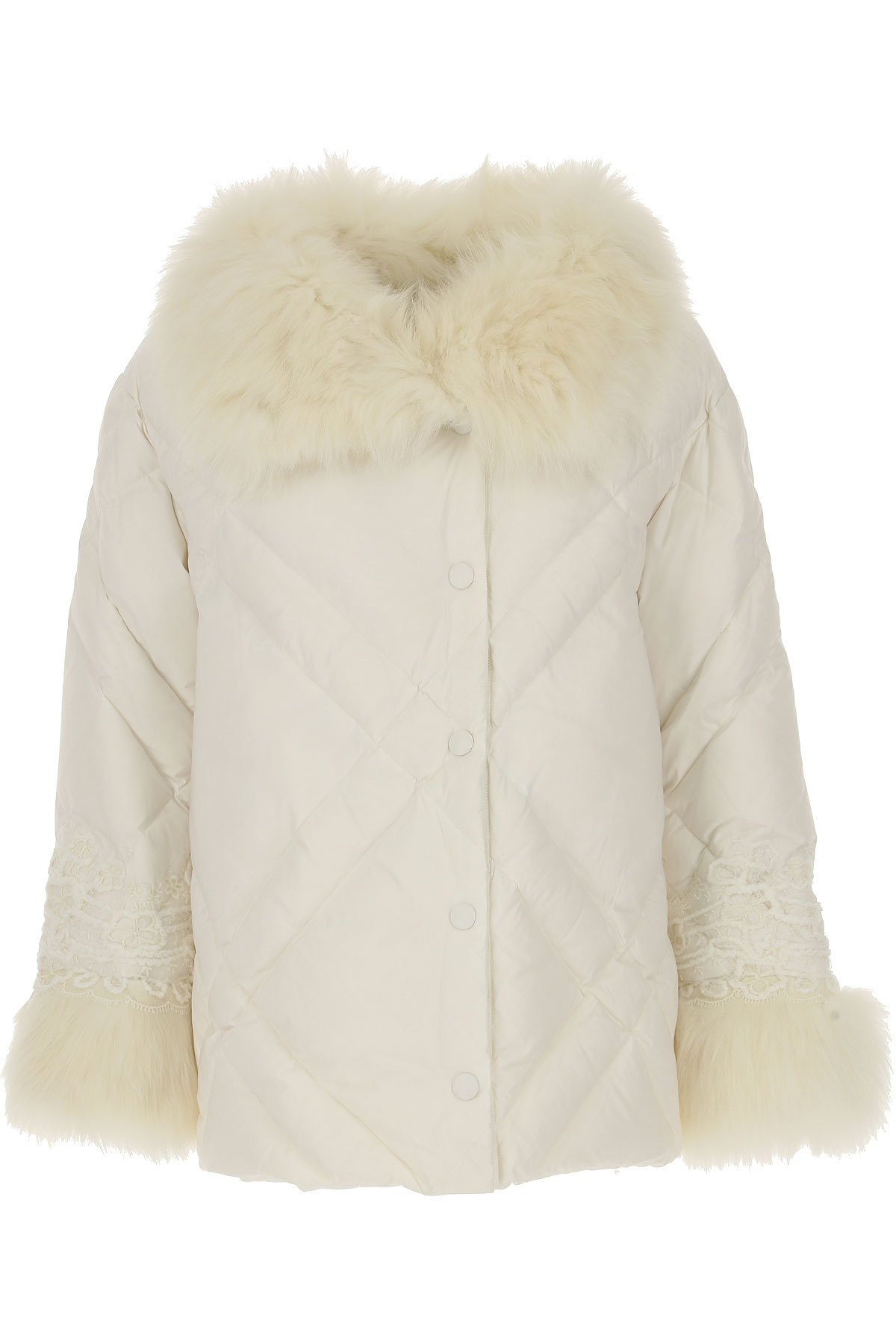Image of Ermanno Scervino Down Jacket for Women, Puffer Ski Jacket, White, Down, 2017, 4 6