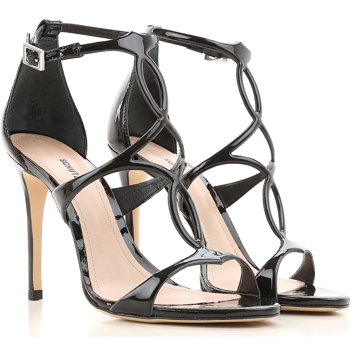 Image of Schutz Sandals for Women On Sale, Black, Patent Leather, 2017, 6 9