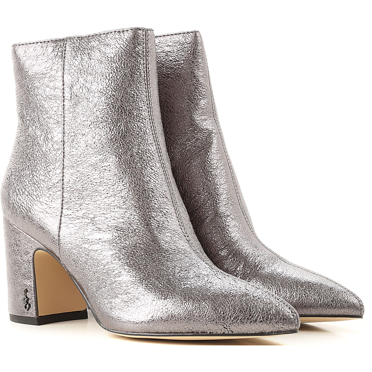 Sam Edelman Boots for Women, Booties On Sale, Grey Metal, Leather, 2019, 8