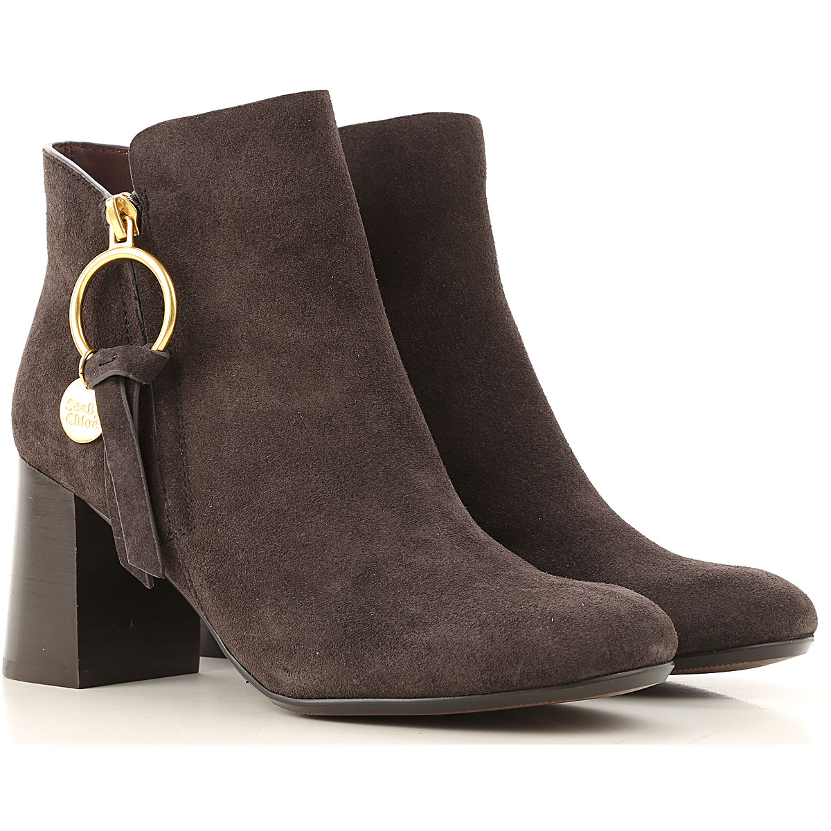 See By Chloe Boots for Women, Booties On Sale, Graphite, suede, 2019, 10 11 7 8 8.5
