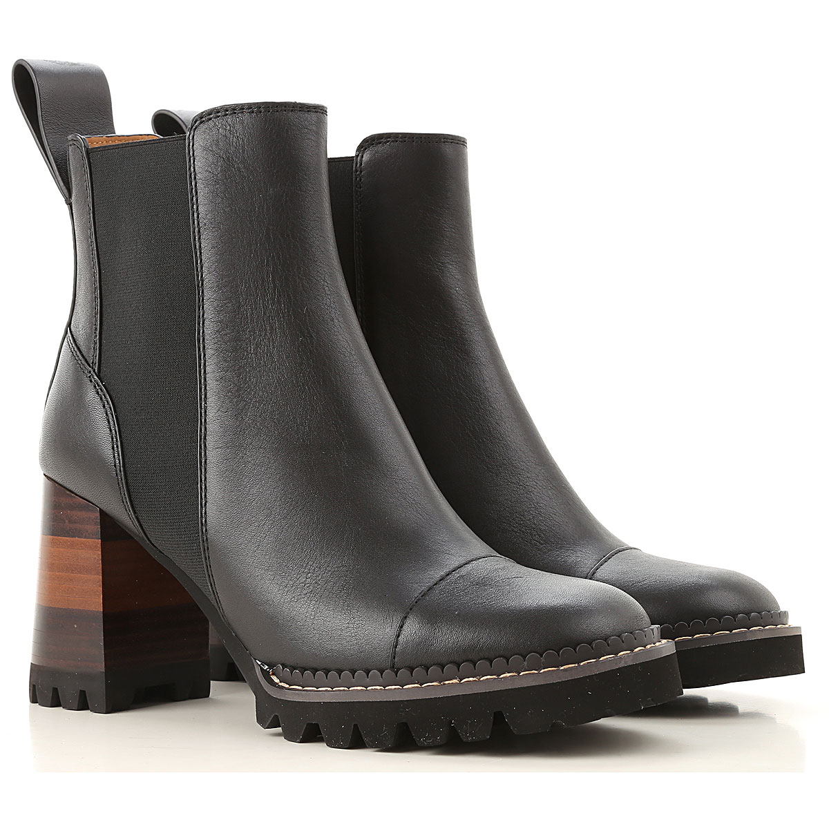 See By Chloe Boots for Women, Booties On Sale, Black, Leather, 2019, 11 6 8 9