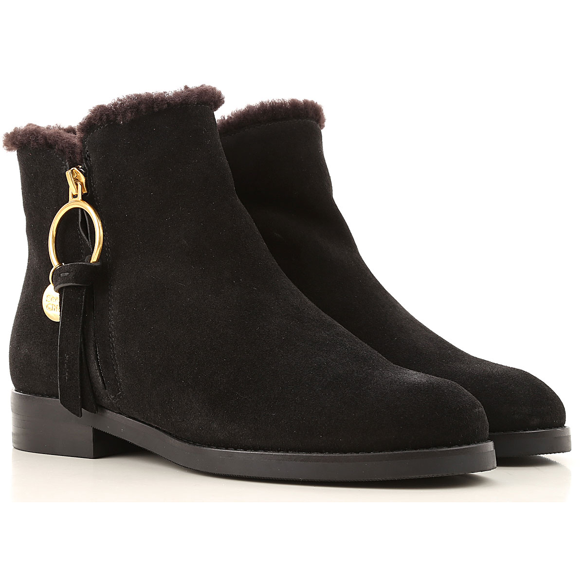 See By Chloe Boots for Women, Booties, Black, Suede leather, 2019, 6 7
