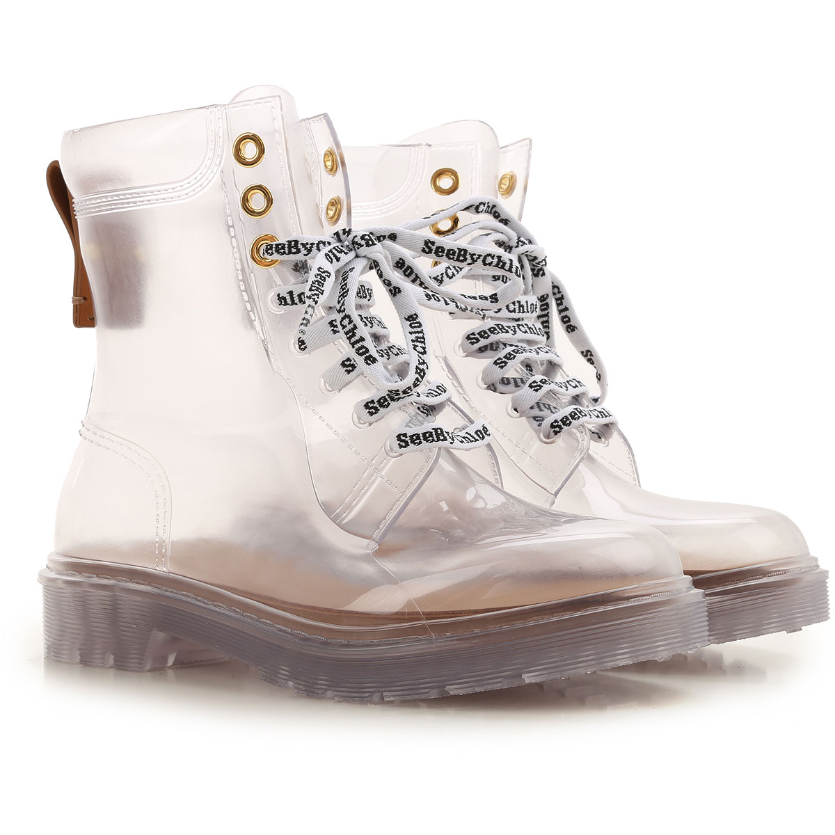 See By Chloe Boots for Women, Booties On Sale, Transparent, Rubber, 2019, 7 8