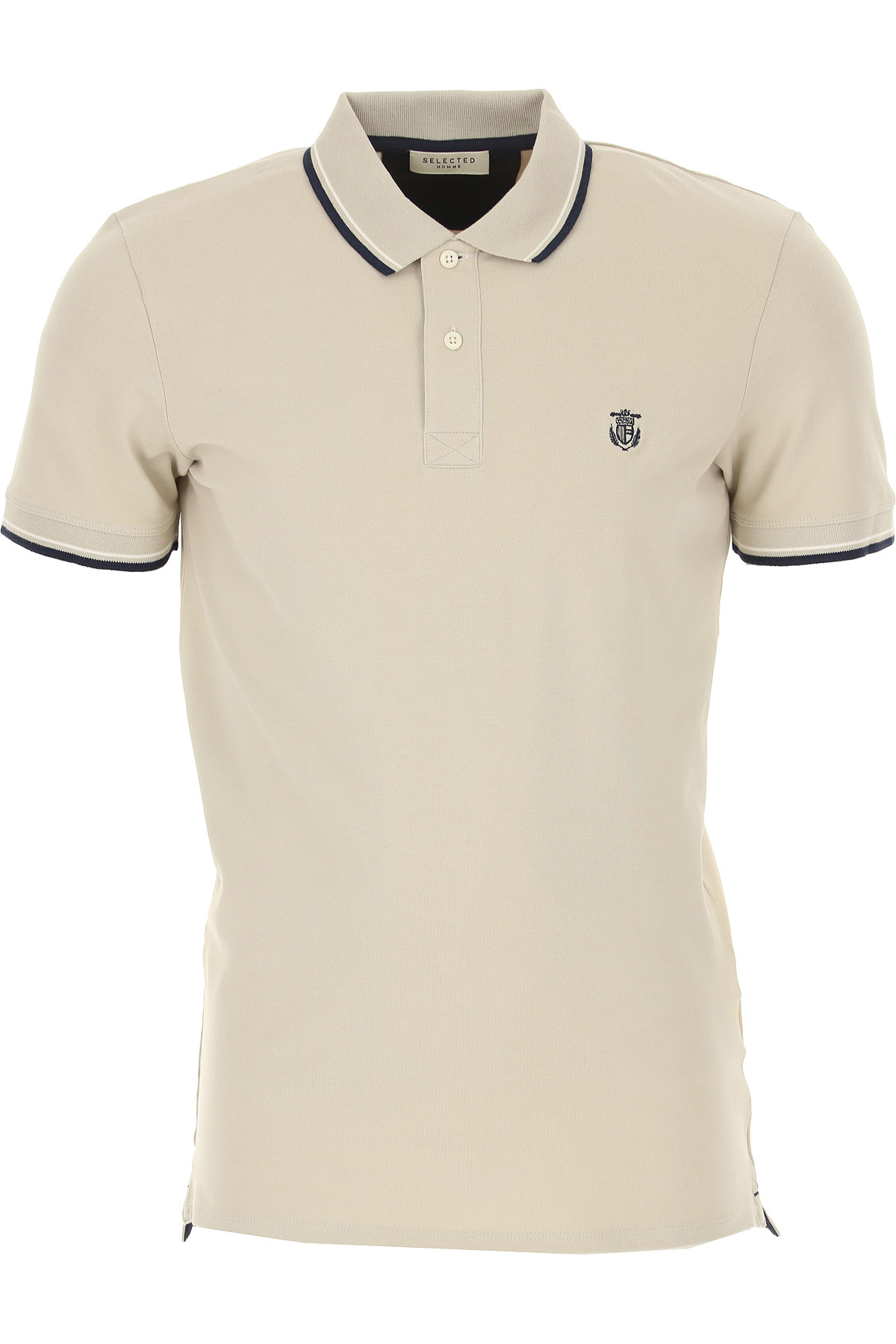 Selected Polo Shirt for Men On Sale, Light Beige, Cotton, 2019, M S
