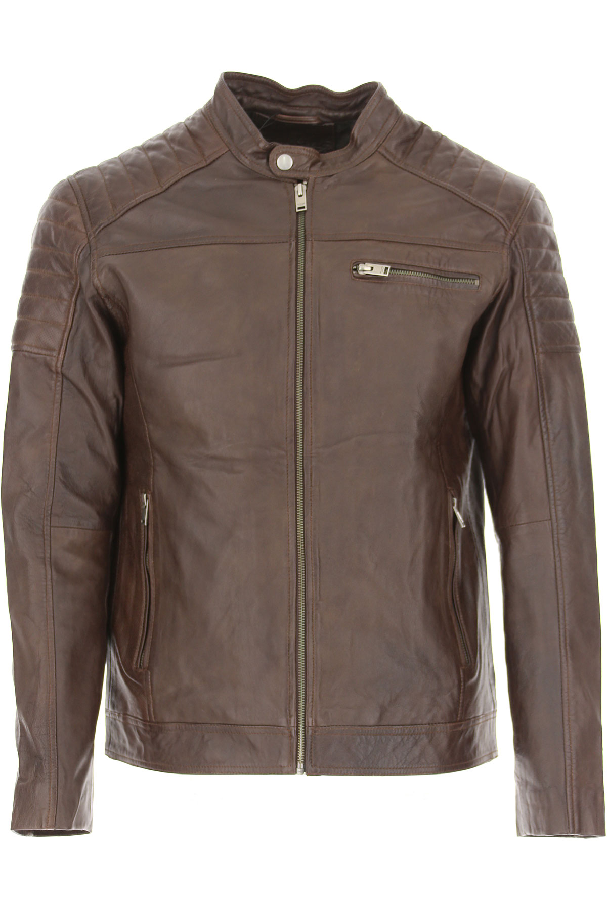 Image of Selected Leather Jacket for Men, Chocolate Brown, Leather, 2017, L M