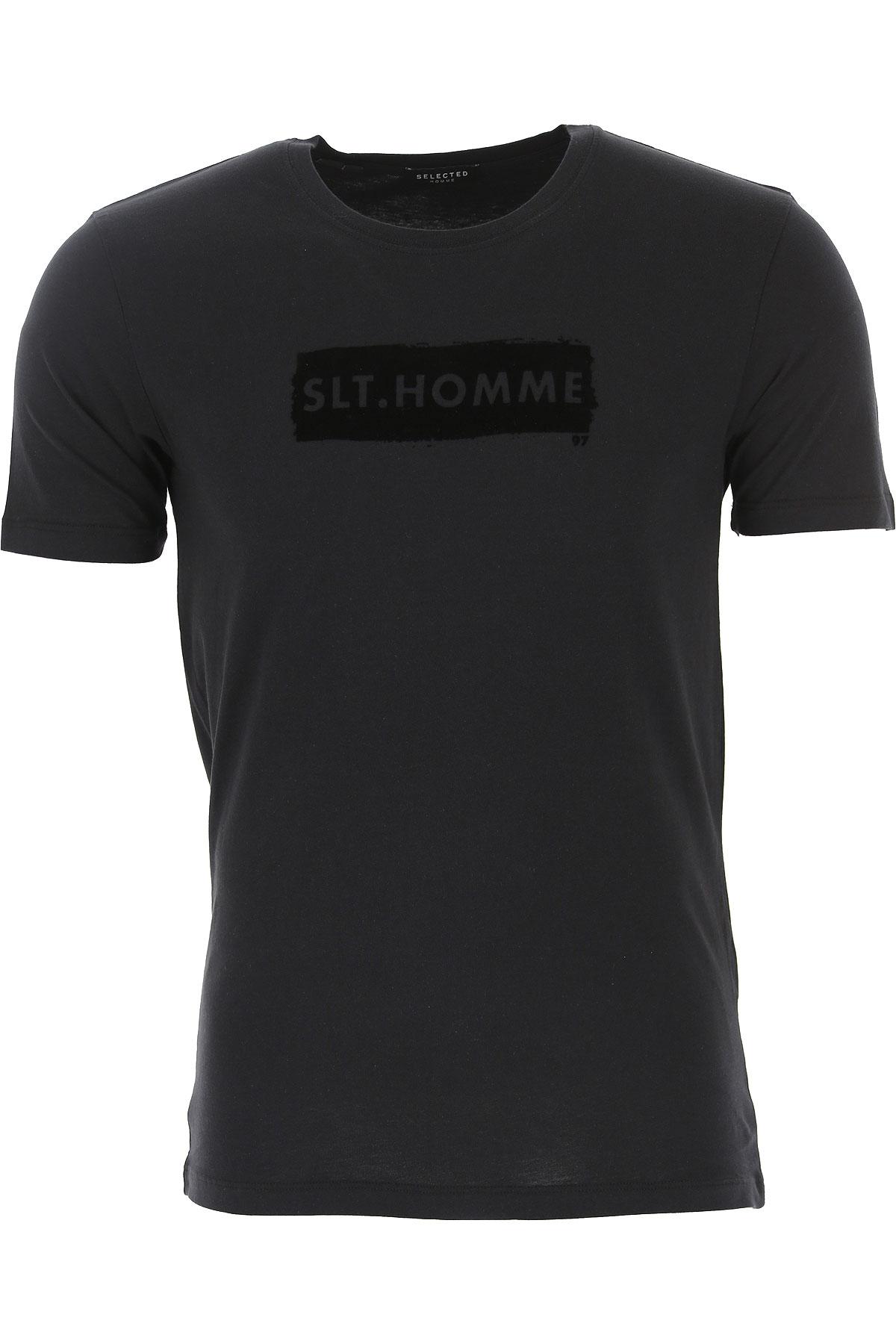 Selected T-Shirt for Men On Sale, Black, Cotton, 2019, L S