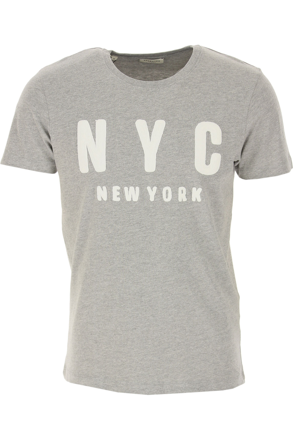 Selected T-Shirt for Men On Sale, Grey, Cotton, 2019, M S XL