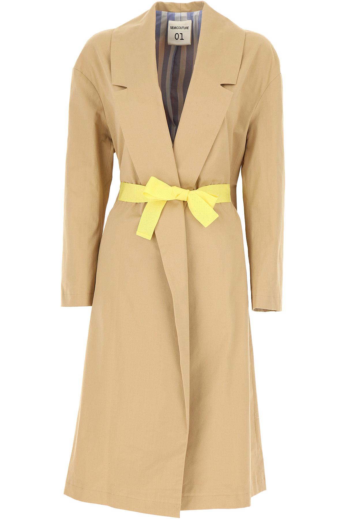 Semicouture Women's Coat On Sale, Beige, Cotton, 2019, 4 6