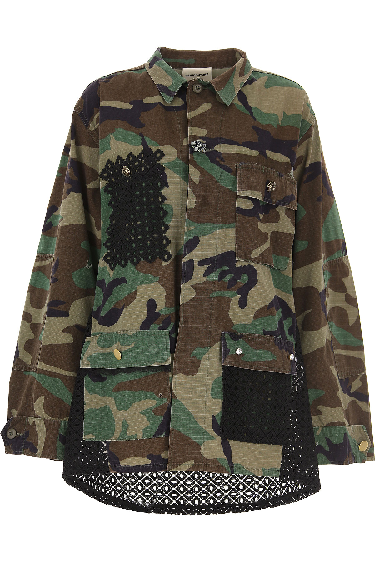 Semicouture Jacket for Women On Sale, Military Green, Cotton, 2019