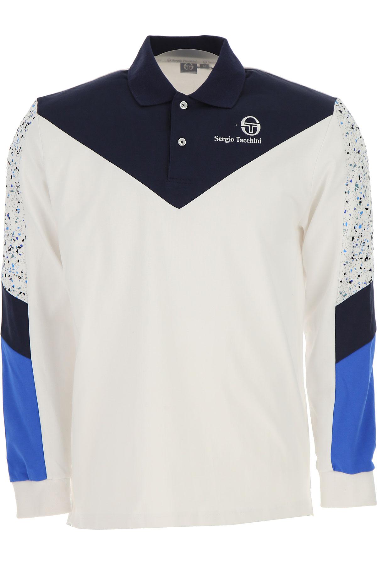 Image of Sergio Tacchini Polo Shirt for Men, White, Cotton, 2017, L M XL