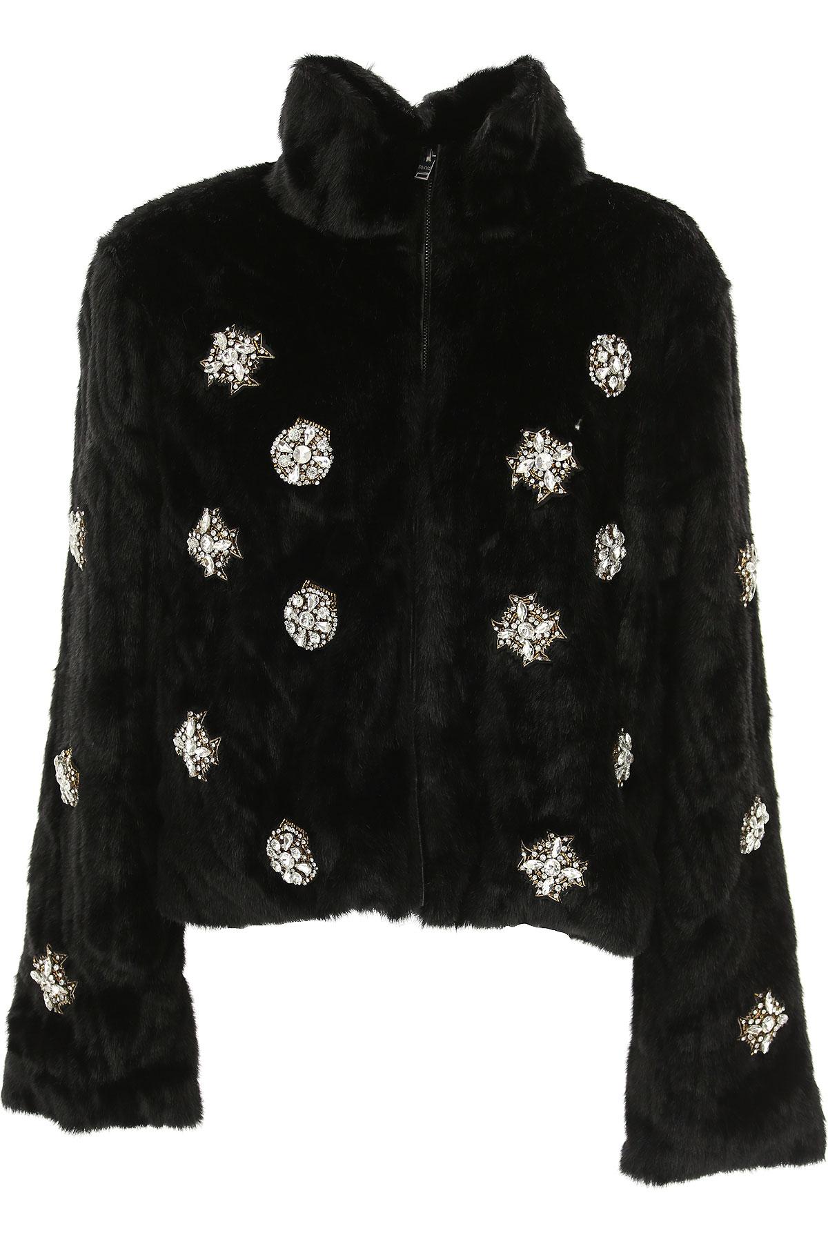 Image of Silvian Heach Jacket for Women, Black, Fur, 2017, 4 6 8